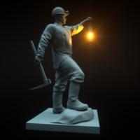 3d mine-worker collier pitman sculpture