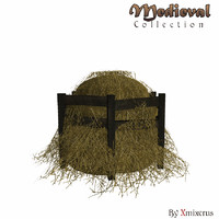 3d haystack ready medieval model