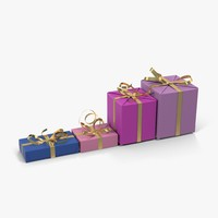 gift boxes purple 3d model