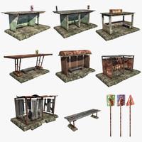 3d model set bus stops