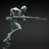 3d obj turk soldier sculpture