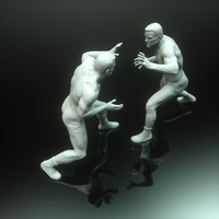 3d wrestler sculpture male printing