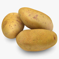 3d model realistic potatoes yellow red