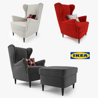 3d model of ikea strandmon wing chair