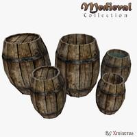 obj medieval barrels pack