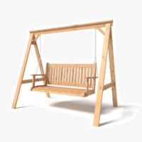 3d model wooden garden swing