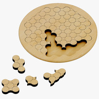 3ds max wooden circles geometric