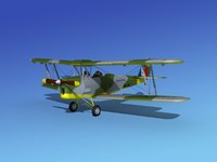 tiger moth dehavilland 3d model