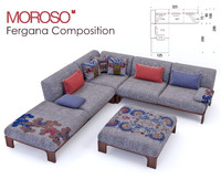 3d sofa fergana composition model