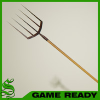 3d model pitchfork old rusty