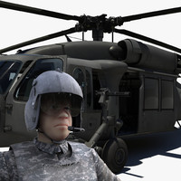 3d model blackhawk black hawk pilot