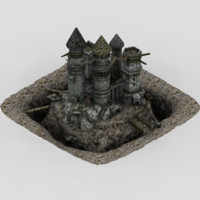 abandoned castle fantasy 3d model