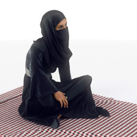 Arab Woman Sitting on Floor
