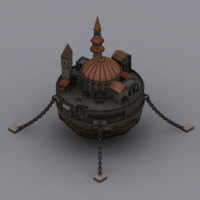 flying fantasy castle 3d model
