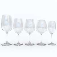 3d model red wine glasses pack