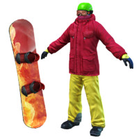 3d model snowboarder ready
