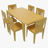 3d dining table chairs-4 chairs model