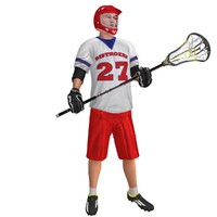 3d rigged lacrosse player model