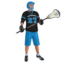 rigged lacrosse player 3d model