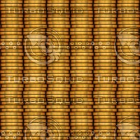 Columns of metal coins pattern