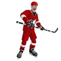 3d rigged hockey player 3 model