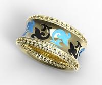 gold ring enamel diamonds 3d 3ds