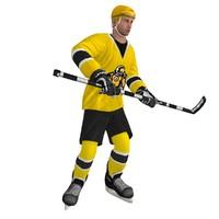 rigged hockey player 3d model