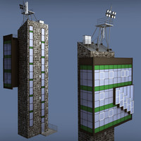 industrial glass tower 3d model
