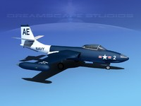 korean f2h banshee jet fighter 3d lwo