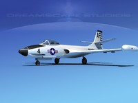 korean f2h banshee jet fighter 3d lw