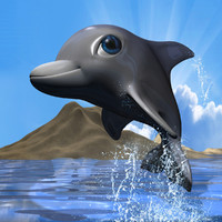 3d cute dolphin rigged