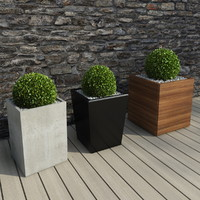 shrubs pots outdoor 3d model