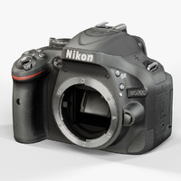 low-poly nikon d5200 black 3d model