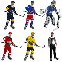3d model pack rigged hockey man
