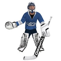 hockey goalie rigged 3d max