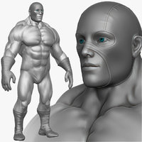 3d obj muscular super hero