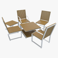 3d model outdoor furniture 1 chairs tables