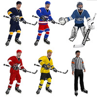 pack rigged hockey 3d model