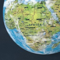 Earth texture world map globe with moon