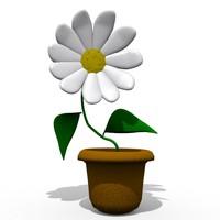 cartoon flower toon 3d model