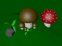 cartoon mushrooms 3d c4d