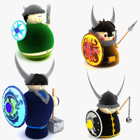 3d model viking doll toys