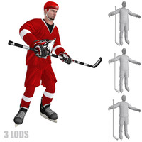 3d model rigged hockey player 3