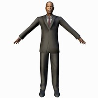 3d model black male businessman rigged