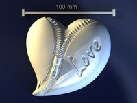 zipper heart 3d max
