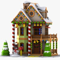 3d model cartoon house toon