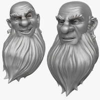3d obj head bearded man 1