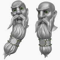 3d model bearded man head