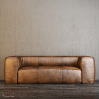 fulham leather sofa 3d obj