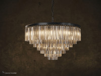 1920 Odeon Glass Fringe 7-Ring Chandelier